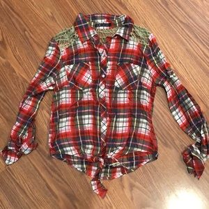 Plaid tie front top